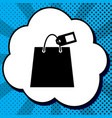 shopping bag sign with tag black icon in vector image vector image