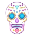 Skull decorated with colorful precious stones and vector image