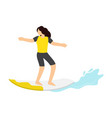 surfer girl ride a surfboard surfing on wave vector image