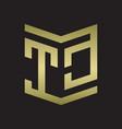 tc logo emblem monogram with shield style design vector image vector image