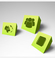 three 3d business card set vector image