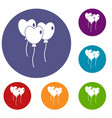 three balloons in the shape of heart icons set vector image vector image