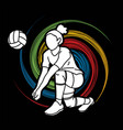 woman volleyball player action cartoon graphic vector image vector image