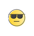 yellow smiling cartoon face wear sunglasses people vector image vector image