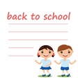 cute boy and girl with blank back to school vector image