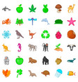 animal species icons set cartoon style vector image vector image