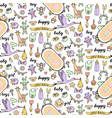 basale doodle and lettering seamless pattern vector image