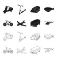 bicycle airplane bus helicopter types of vector image vector image