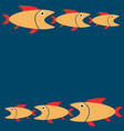 blue background with yellow fishes cartoon vector image vector image