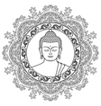 buddha head on mandala background vector image vector image