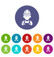 builder icons set color vector image vector image