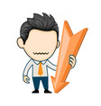 business man character with falling down arrow vector image