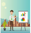 businessman making a presentation in front a bo vector image