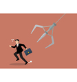 Businessman running away from robotic claw vector image vector image