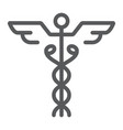 caduceus line icon medical and hospital pharmacy vector image vector image
