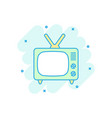 cartoon colored tv icon in comic style television vector image