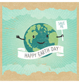 Cartoon Earth Planet smile and hold banner with S vector image vector image