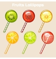 cartoon fruits candy lollipops vector image vector image