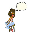 cartoon woman striking pose with thought bubble vector image vector image