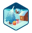Christmas and New Year icon cartoon style vector image