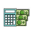 color financial calcuator with bills cash money vector image