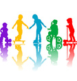 Colored silhouettes of active kids vector image