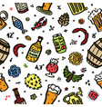 craft beer hand drawn elements pattern vector image vector image