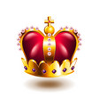 crown with cross and pink pearls isolated on white vector image vector image