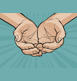 cupped hands folded arms pop art retro comic vector image