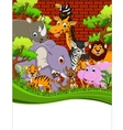 cute animal wildlife cartoon with blank sign vector image vector image