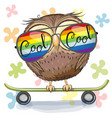 cute owl with sun glasses on a skateboard vector image vector image