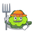 farmer roman cauliflower in the shape cartoon vector image