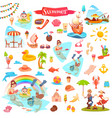 fishing ice cream summer and sushi items vector image