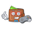 gamer wallet mascot cartoon style vector image