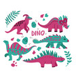 hand drawn dinosaurs set and tropical leaves cute vector image