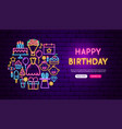 happy birthday neon banner design vector image