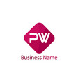 initial letter pw logo template design vector image