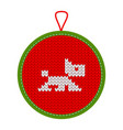 knitted christmas decoration dog vector image vector image