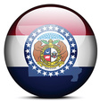 Map on flag button of USA Missouri State vector image vector image