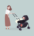 mom walks with a stroller with her baby vector image