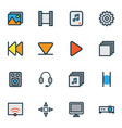 multimedia icons colored line set with multimedia vector image