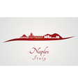 Naples skyline in red vector image vector image