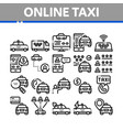 online taxi collection elements icons set vector image vector image