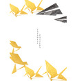 origami paper folding decoration with gold vector image