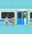 people using smartphones in subway train vector image