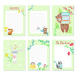 planner template with cute wild animals vector image