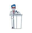 politician man standing behind rostrum and giving vector image