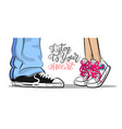 pop art man woman sneakers kiss love cute vector image