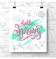 poster with a handwritten phrase-hello spring 2 vector image vector image