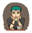 Pretty girl with green hair sitting in front of vector image vector image